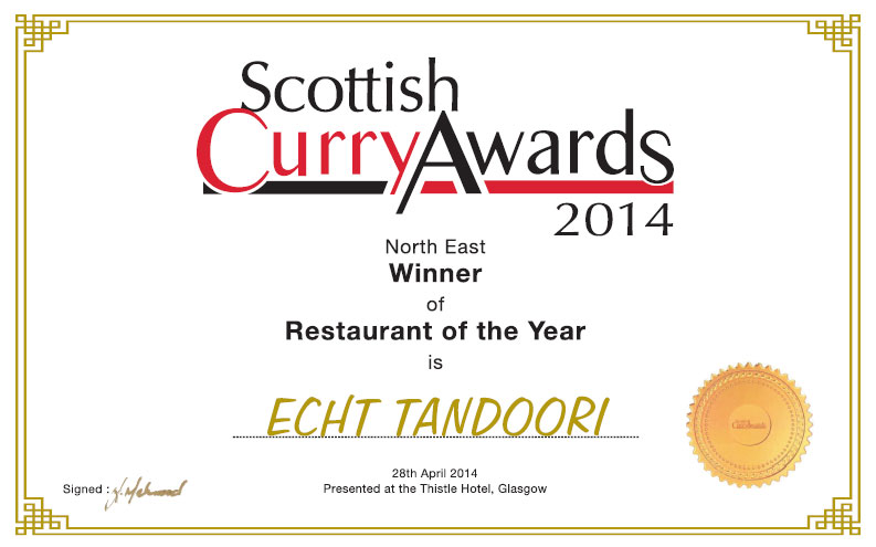 Scottish curry awards certificate